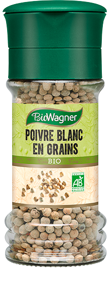 Poivre blanc en grains en moulin